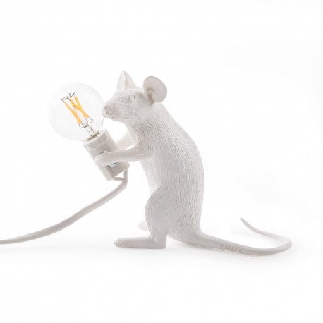 seletti mouse lamp sitting lampe a poser souris assise blanc 14885