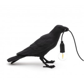 seletti bird lamp waiting lampe a poser corbeau noir 14735