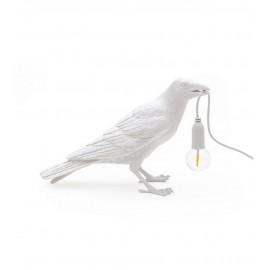 Lampe à poser oiseau corbeau Seletti Bird Lamp Waiting blanc
