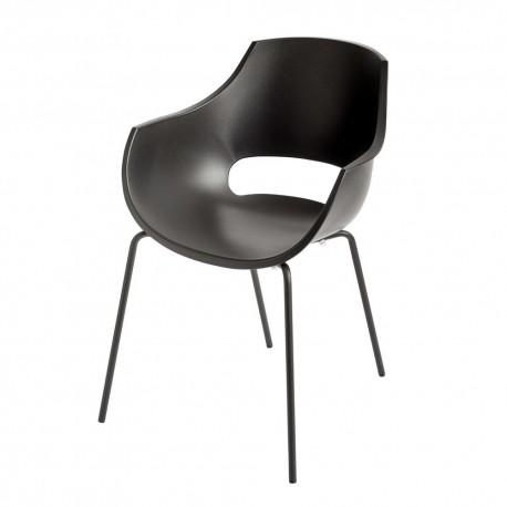 chaise contemporaine noire arrondie accoudoirs polypropylene muubs opal