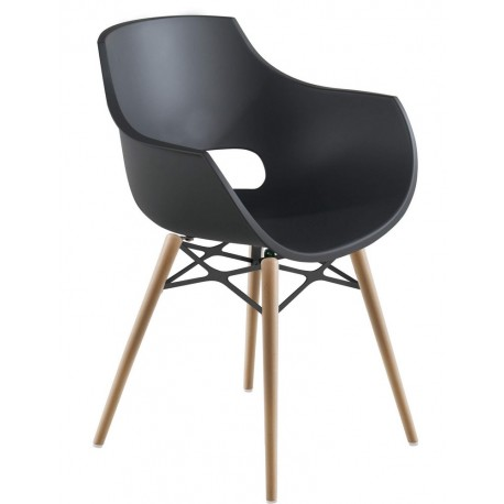 chaise enveloppante design noir pieds bois polypropylen muubs opal wox