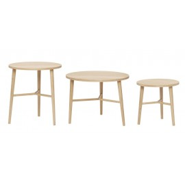 hubsch set de 3 tables basses rondes scandinaves bois clair 880522