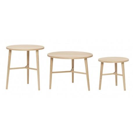 hubsch set de 3 tables basses rondes scandinaves bois clair 880522