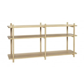 hubsch etagere basse a poser scandinave bois clair 3 tablettes 880810
