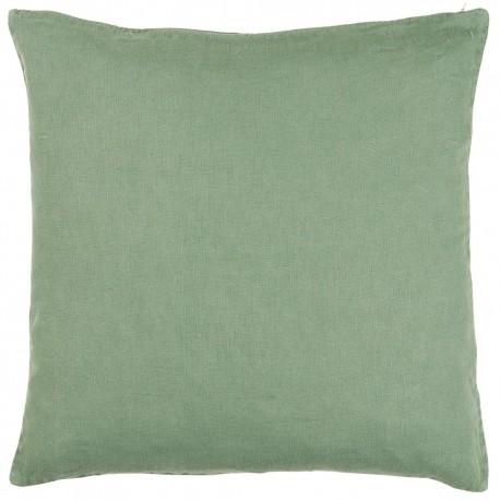 ib laursen housse de coussin carree lin vert kaki 50 x 50 cm