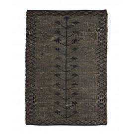madam stoltz tapis noir jonc de mer seagrass 120 x 180 cm