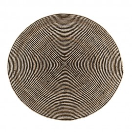 madam stoltz tapis rond jute rayures noir naturel 150 cm