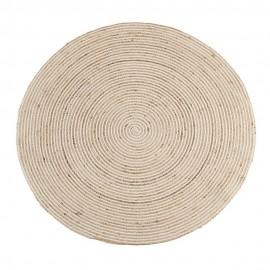 madam stoltz tapis rond jute raye beige ecru 150 cm