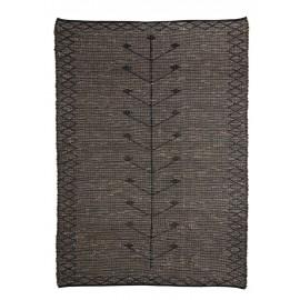 madam stoltz grand tapis rectangulaire jonc de mer brode noir 180 x 270
