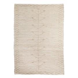madam stoltz grand tapis jonc de mer beige ecru brode 180 x 270 cm