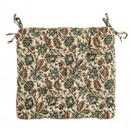 madam stoltz coussin de chaise carre coton imprime fleuri 45 x 45 cm