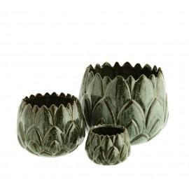 madam stoltz set de 3 cache pots decoratifs gres vert