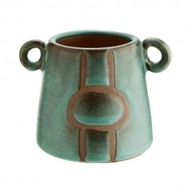 madam stoltz vase decoratif terracotta vert
