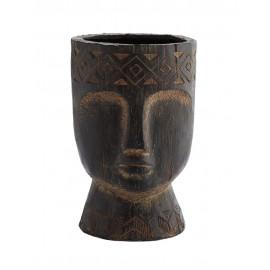madam stoltz cache pot sculpture forme tete en fibre de terre marron