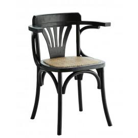 Chaise avec accoudoirs bois orme rotin Madam Stoltz noir