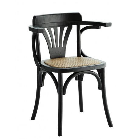 madam stoltz chaise accoudoirs bois d orme noir rotin