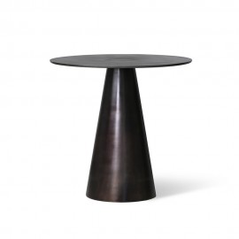 hk living table basse ronde pied conique metal noir