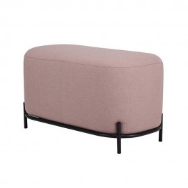 hk living pouf chic textile rose base metal noir 80 cm