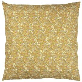grande housse de coussin 60 x 60 cm coton jaune imprime fleuri ib laursen