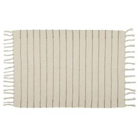 petit tapis coton ecru rayures beiges 60 x 90 cm ib laursen