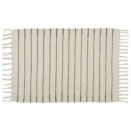 petit tapis raye ecru noir coton ib laursen 60 x 90 cm