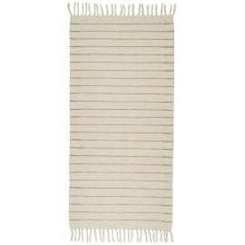 tapis chambre long descente de lit coton ecru raye beige 65 x 130 cm