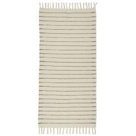 tapis chambre long coton raye ecru noir 65 x 130 cm ib laursen