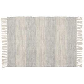 Petit tapis rayé coton IB Laursen écru bleu ciel