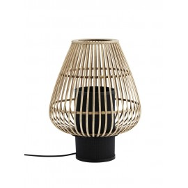 madam stoltz lampe de table en bois de bambou naturel metal noir