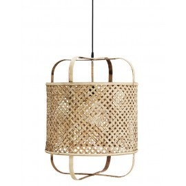 madam stoltz suspension bambou naturel style lanterne
