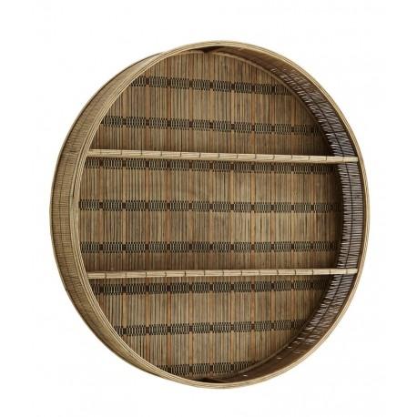madam stoltz grande etagere murale ronde bambou tresse bois fonce