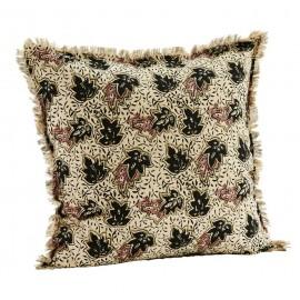 madam stoltz housse de coussin coton imprime feuilles franges