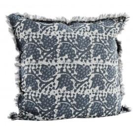 madam stoltz grande housse de coussin cerree imprime bleu 60 x 60 cm