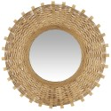 ib laursen grand miroir mural rond soleil bambou naturel tresse 63 cm