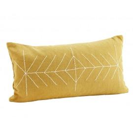 madam stoltz grand housse coussin rectangulaire jaune brode 40 x 70 cm
