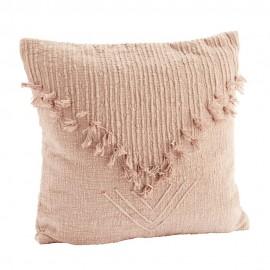 madam stoltz housse de coussin franges 50 x 50 cm coton rose pastel