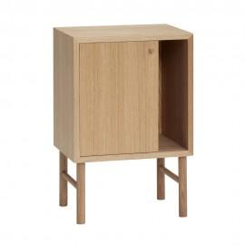 hubsch table de chevet rangement design epure bois chene clair