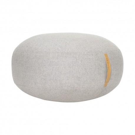 hubsch grand pouf rond design laine chevrons gris poignee cuir 700805