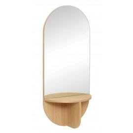 hubsch miroir mural ovale etagere bois chene clair 881117