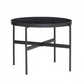 Table basse ronde métal verre effet marbre Hübsch noir