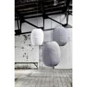 Grand abat-jour suspension ovale verticale coton House Doctor Stitch gris