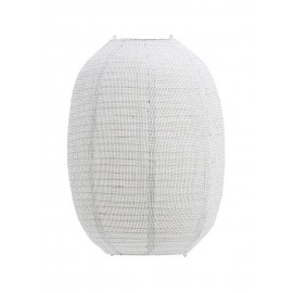 house doctor stitch abat jour suspension coton ovale lampion blanc ecru