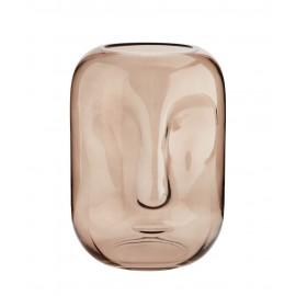Vase verre impression visage Madam Stoltz Face rose