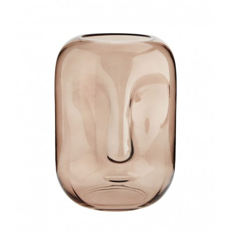 madam stoltz face vase verre rose impression visage