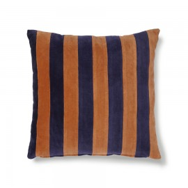 hk living coussin carre raye velours bleu orange 50 x 50 cm