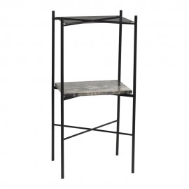 hubsch table console carree metal noir verre marbre 020806