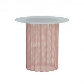 hubsch table basse ronde metal perfore plie dentelle rose verre blanc