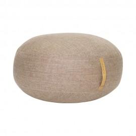 hubsch grand pouf rond laine marron a chevrons cuir d 70 cm