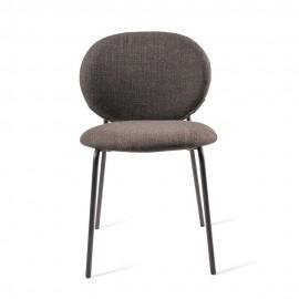 Chaise rembourrée tissu métal Pols Potten Simply gris