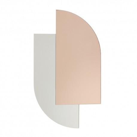 hubsch miroir mural style art deco verre bicolore rose 991117